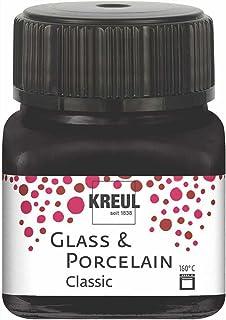 Kreul 16234 – Glass & Porcelain Classic noir, en verre de 20 ml, peinture brillante pour verre et porcelaine à base d'eau,...