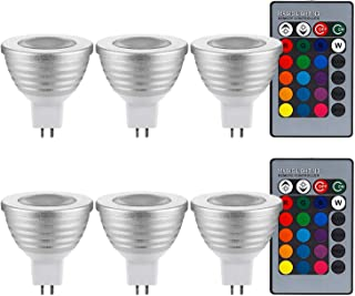3-in-1 RGB Multi Color LED MR16 Floodlight Kit, 60° Beam Angle MR16 Bulb with GU5.3 Base, 2 24-Key IR Remote Controls, AC ...