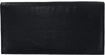 CTM Leather RFID Checkbook Cover with Croco Pattern