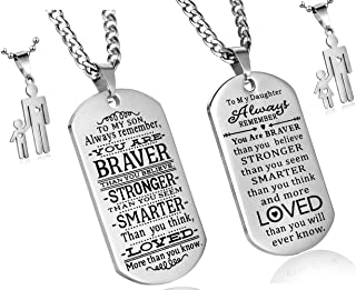 C&L Pack of 2 to My Son to My Daughter Always Remember You are Braver Than You Believe Quotes Dog Tags Pendant Necklace Love Gift