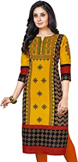 e53046a741 Jevi Prints Women's Straight Kurta (KURTI_K-1206_Gold & Multicolor_Xx-Large)