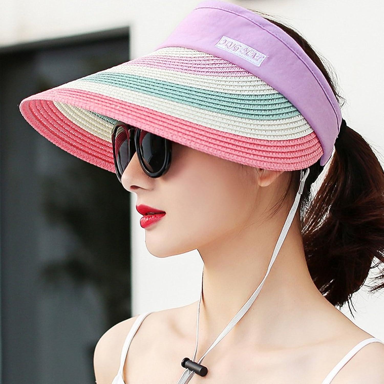 Cool Hat Summer Hat, Sun Hats Women Elasticity Adjustment Belt Wind Rope color Stripe Breathability Travel, 4 colors Optional