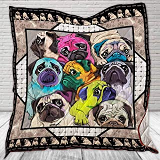 I Love Pugs Quilt TH463, Queen All-Season Quilts Comforters with Reversible Cotton King/Queen/Twin Size - Best Decorative Quilts-Unique Quilted for Gifts