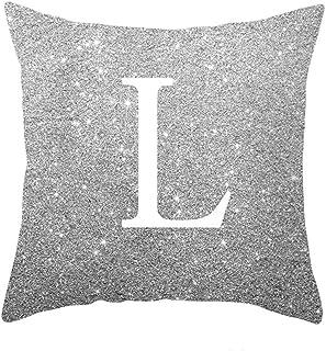 YTI English Alphabet Throw Pillow Covers Sofa Car Cushion Cover Home Decorative Pillowcase 18x18inch (L)