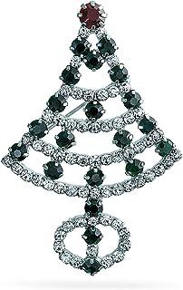 Bling Jewelry Vacanze Inverno Cristallo White Verde Moda Dichiarazione Grande Albero Natale Spilla Pin per Donne Placcato ...