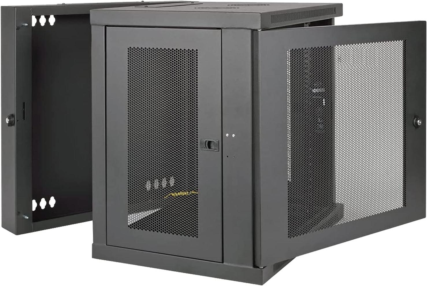 12U Wall Mount Rack Enclosure Server,Black,Hinged,ApplytoNetworkWiringRoom,ComputerRoom,DataRoom,ControlCenter,Home,Office,etc.SoldbyFerruNet
