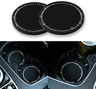 JUSTTOP Car Cup Holder Coaster, 2 Pack Universal Auto Anti Slip Cup Holder Insert Coaster, Bling Crystal Rhinestone Car Interior Accessories-Black