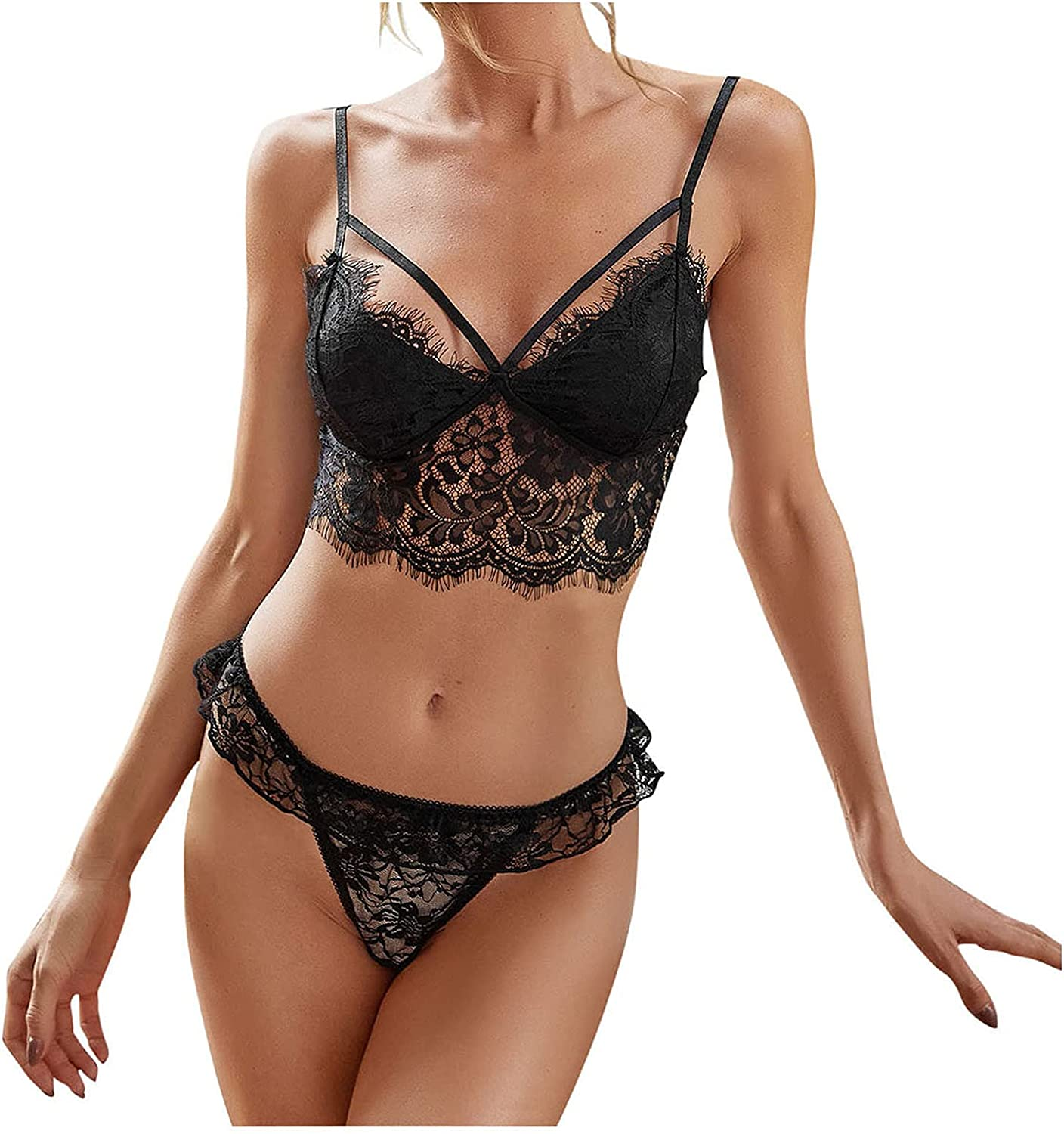 Lovor Women Lingerie with Gloves, Sexy Lace 3 Pieces Underwear Sexy Bra and Panty Set Lingerie Set