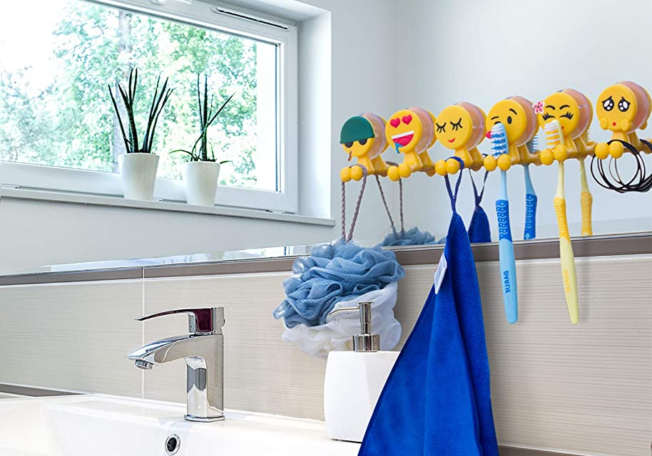 BOLICA Toothbrush Holder, Cute Emoji Toothbrush Holder With Suction Cup, Kids Toothbrush Holder, Suction Cup Hook 6 Pcs