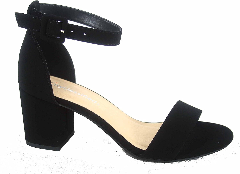 CITYCLASSIFIED City Classified Cake-s Women's Fashion Open Toe Ankle Buckle Strap Low Chunky Heels Sandals shoes (6 B(M) US, Black)