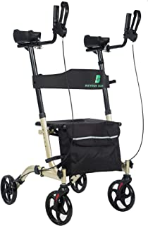 """BEYOUR WALKER Lightweight Upright Rollator Walker 8"""" Front Wheels with Seat and Backrest, Folding Compact for Seniors, Cha..."""