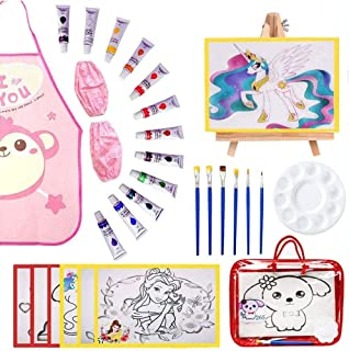 Kalolary Kids Painting Set for Girls, Paint Art Supplies Kit with 1 Storage Bag, 12 Washable Paints, 1 Scratch Free Paint Easel, 6 Pieces Canvases, 6 Paint Brushes, 1 Palette and 1 Waterproof Apron