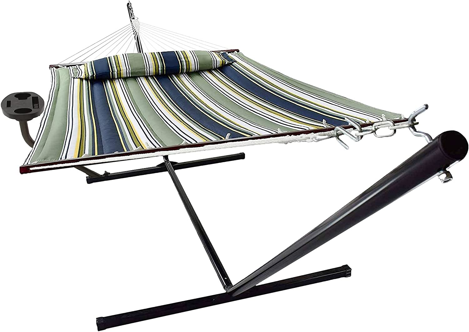 Hammock with Stand Virginia Rapid rise Beach Mall Cupholder 2 Person Pillow Detachable