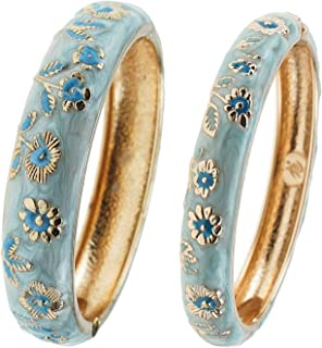 UJOY Bracelet Bangles Gold Plated Gorgeous Enameled Flower Handcraft Cloisonne Jewelry Gifts Packed in Box 55C43