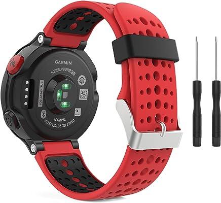 MoKo Forerunner 235/220 / 230/620 / 630/735 Correa - Reemplazo Suave Silicona Watch Band Deportiva Accessorios de Reloj Pulsera Ajustable con Cierre de Clip, Rojo & Negro