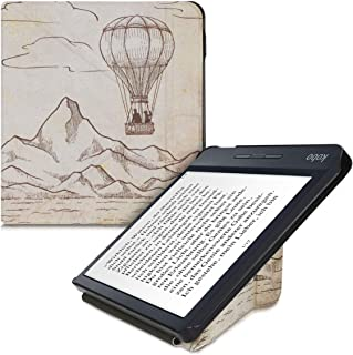 kwmobile Origami Case Compatible with Kobo Libra H2O - Slim Premium PU Leather Cover with Stand - Hot Air Balloon Dark Bro...