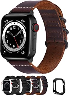 Fullmosa Compatible for Apple Watch Band 40mm 38mm 42mm 44mm,Leather NATO Strap for iWatch SE & Series 6/5/4/3/2/1,Brown,4...