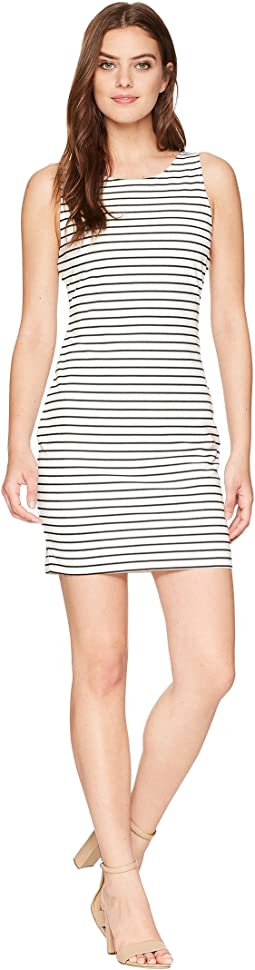 Karen Striped Ponte Bodycon Dress with Back Elastic