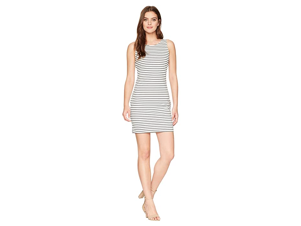 Jack by BB Dakota Karen Striped Ponte Bodycon Dress with Back Elastic (Bright White) Women