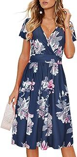 Damen Sommerkleid Kurzarm V-Ausschnitt Knielang Blumenmuster Partykleid mit Taschen