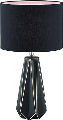 Fischer & Honsel 50048 Lampe de table, Céramique, Noir, 25 x 25 x 46,5 cm (LxBxH)