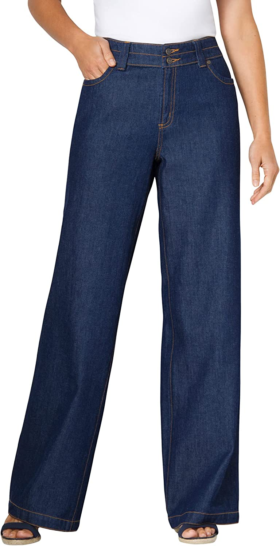 Woman Within Women's Plus Size Wide Leg Cotton Jean