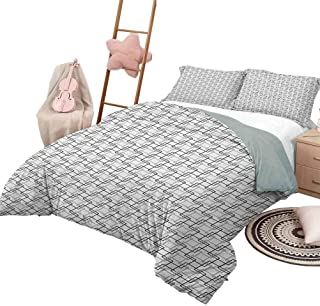 Geometric Soft Microfiber Bed Sheets Bedding 3-Piece Twin Bed Sheets Set, Minimalist Pattern with Intersecting Squares Grayscale Lattice Mosaic Ultra-Soft Black Pale Grey White