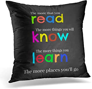 VANMI Throw Pillow Cover Quote Teacher Read and Colorful Elementary Decorative Pillow Case Home Decor Square 18x18 Inches Pillowcase