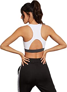 MakeMeChic Women's Strappy Sport Bras Yoga Tops Backless Activewear Workout Clothes