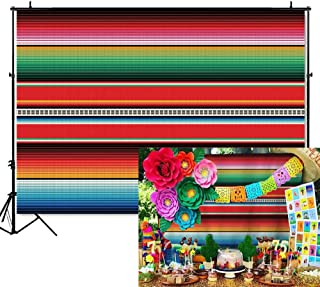 Mehofoto Mexican Cinco De Mayo Backdrop Fiesta Traditional Mexico Photography Background with Stripes 7x5ft Vinyl Fiesta Party Banner Backdrops