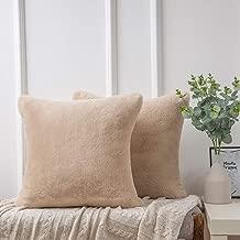 Ashler Ultra Soft Throw Pillows Faux Rabbit Fur Pack of 2 Decorative Pillow Cushion Cover Beige 18 x 18 inches 45cm x 45cm