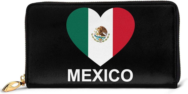 SEAEAGLE Love Mexico Womens Wristlet Leather Wallet Zipper Clutch Travel Purse Card Bag