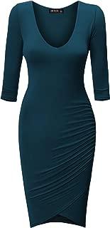 CTC Womens Deep V Neck 3/4 Sleeve Tulip Bodycon Dress - Made in USA