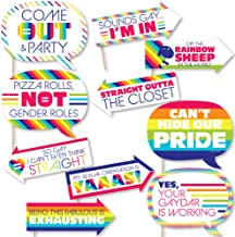Funny Love is Love - Gay Pride - LGBTQ Rainbow Party Photo Booth Props Kit - 10 Piece