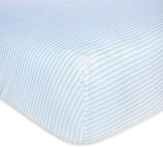 Burt's Bees Baby - Fitted Crib Sheet, Boys & Unisex 100% Organic Cotton Crib Sheet For Standard Crib and Toddler Mattresses (Sky Blue Thin Stripes)