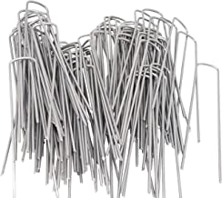 OuYi 6inch Garden Staples Galvanized Landscape Sod Stakes, 100 Pack 6 Inch 11 Gauge Rust Resistant Steel Lawn U Pins Pegs-Securing Ground Cover, 100x, Silver
