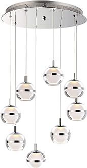 1-Light 13.3 Watt Polished Chrome ET2 E22713-PC Hoops 24 Floating Aluminum /& Acrylic Ring LED Pendant Ceiling Lighting