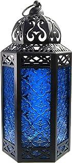 Vela Lanterns Moroccan Style Candle Lantern with LED Fairy Lights, Large, Cobalt Glass