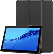 RKINC Trifold Smart Case for Mediapad T3 10, Lightweight Smart Cover with Auto Sleep/Wake, Soft Back Cover for Huawei Mediapad T3 10 9.6 Inch 2017 Release (Black)