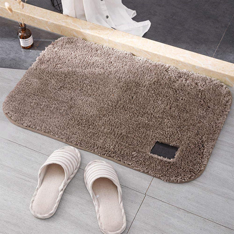 Door mat,Rug Floor mat Household Bathroom Non-Slip Mat Indoor Doormat Solid color-Brown 50x80cm(20x31inch)