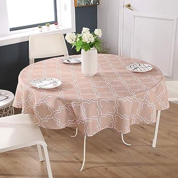 Dehaus® Mantel Antimanchas Gris Moderno Redondo de 150 cm de ...