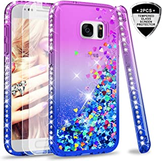 Galaxy S7 Glitter Case with Tempered Glass Screen Protector [2 Pack] for Girls Women, LeYi Bling Sparkle Diamond Liquid TPU Protective Phone Case for Samsung Galaxy S7 Gradient Purple/Blue