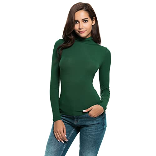 416e1e3f858a57 Womens Long Sleeve/Half Sleeve Slim Fit Mock Turtleneck Stretch Comfy Basic T  Shirt Layer