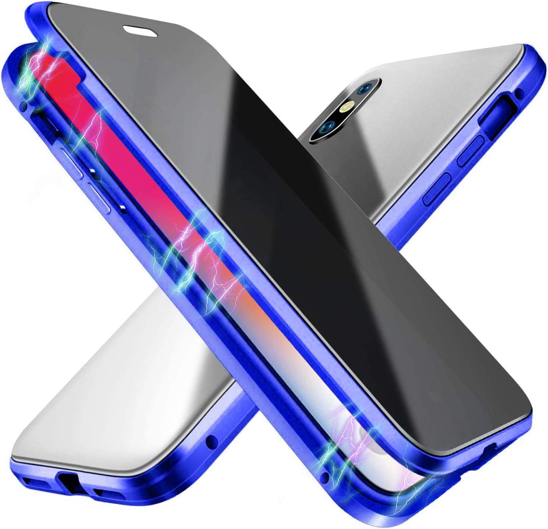 Oihxse Anti-peep Magnetische H/ülle f/ür iPhone X 360/° Full Body Schutz Case,Privatsph/äre Geh/ärtetes Glas Transparente Anti-Sp/ähen//Anti-Spy Cover mit Metallrahmen Bumper R/ückseite Cover-Silber