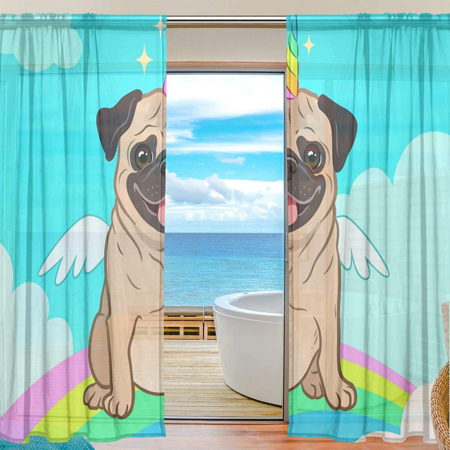 Unicorn Pug 2 Pieces Curtain Panel 55 x 78 inches for Bedroom Living Room