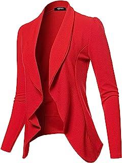 SSOULM Women's Long Sleeve Classic Draped Open Front Lightweight Blazer with Plus Size