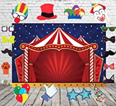 Circus Backdrop and Studio Props DIY Kit.Circus Tent Photography Backdrops Glitter Stars Carnival Red Tent Kids Birthday Party Banner Decor Baby Shower Background for Pictures XT-4567