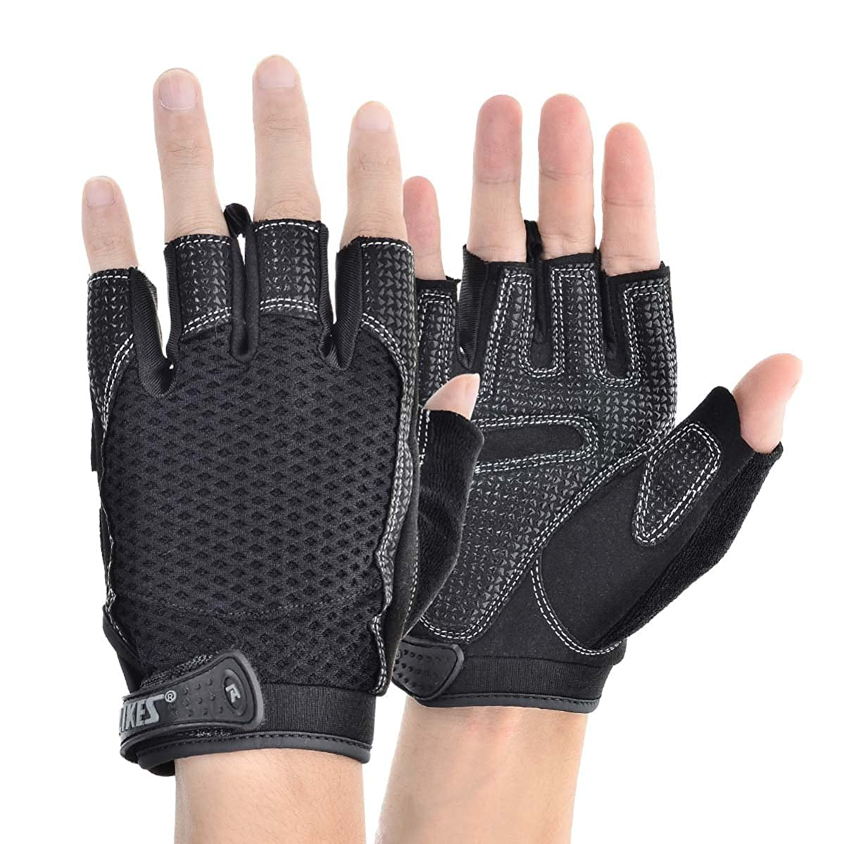 KAMO Ultralight Anti-slip Breathable Gloves for Gymnastics,Kayaking,Paddling,Sailing,Weight Lifting,Training,Fitness£?Bodybuilding and Outdoor Anti-slip Cycling Gloves Men & Women(Black,XL)