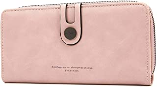 OURBAG Wallet for Women Soft PU Leather Clutch Phone Coin Purse Long Ladies Credit Card Holder Organizer Pink