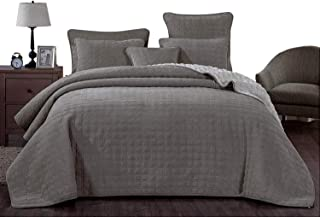 DaDa Bedding Corduroy Sherpa Backside Bedspread - Soft Grey Square Pattern Quilted Coverlet Set - Cal King - 3-Pieces